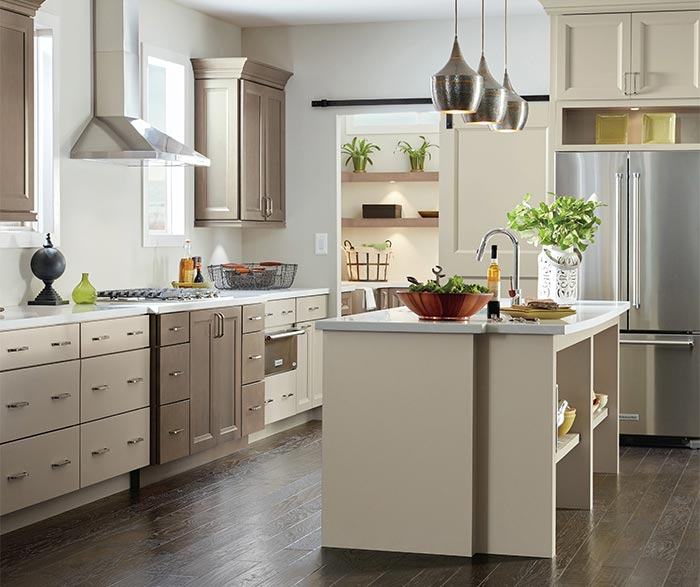 Butler Maple kitchen cabinets in Seal and Egret finishes