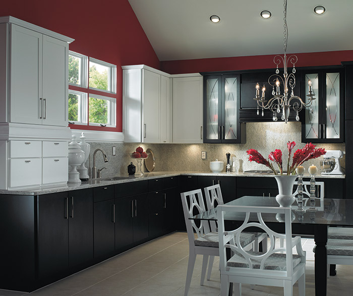 Caprice and Whitman black and white kitchen cabinets