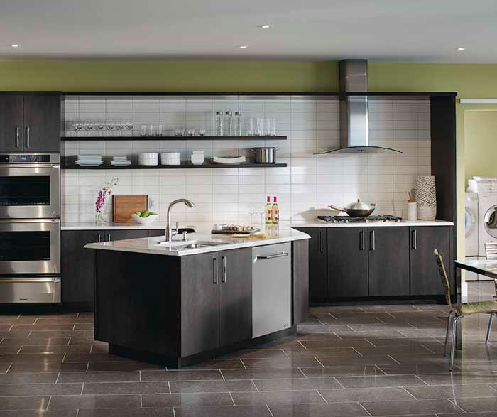 Dark gray kitchen cabinets by Kemper Cabinetry