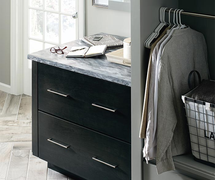 Close up of Cotter dark grey laundry cabinets in Storm finish