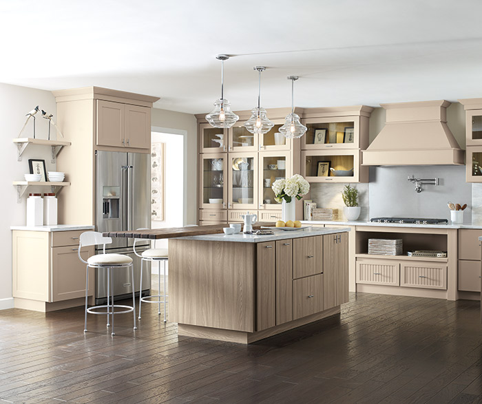 Transitional kitchen with Northrope, Lynnville and Genova beige cabinets