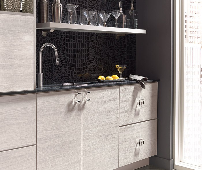 Troxel contemporary wet bar cabinets in Arctic laminate