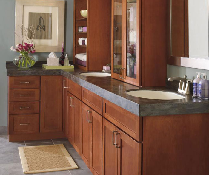 Shaker style bathroom cabinets by Kemper Cabinetry
