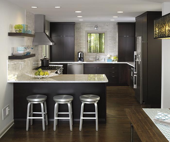 Maple Caprice kitchen cabinets with chocolate finish