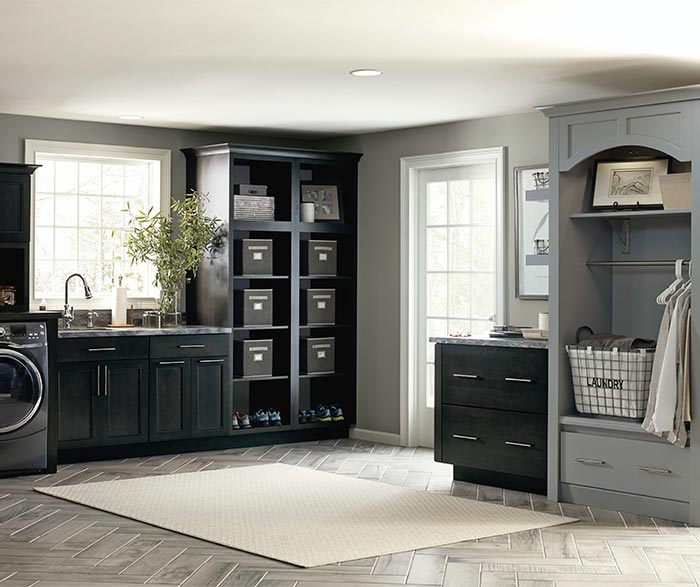 Cotter dark grey laundry cabinets in Storm finish