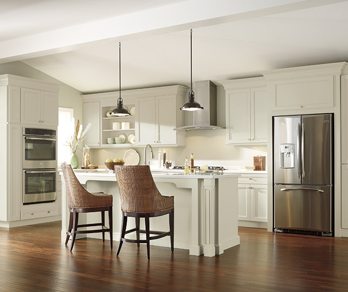 Off white cabinets in a casual kitchen