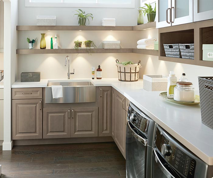 Hardin laundry room storage cabinets in Maple Seal
