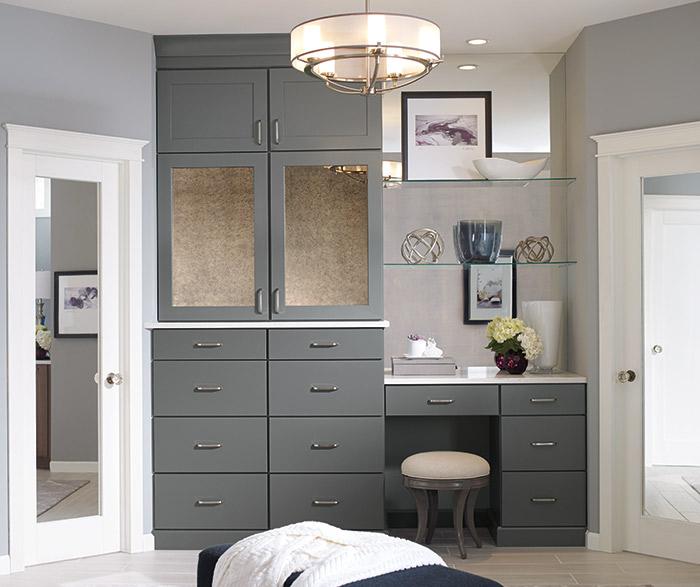 Larsen Shaker style bathroom cabinets in Maple Moonstone