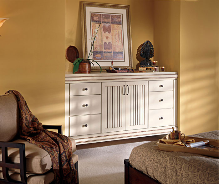 Dresser with beadboard cabinet doors by Kemper Cabinetry