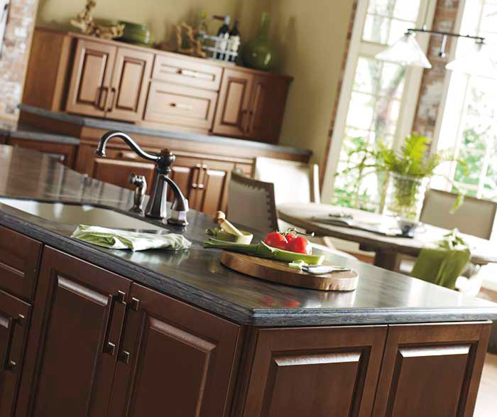 Dark Cherry kitchen cabinets by Kemper Cabinetry