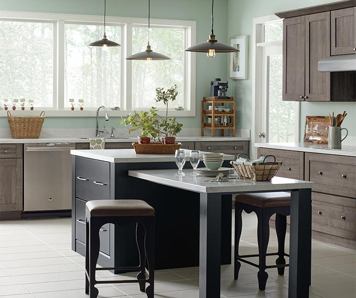 Shafer Laminate kitchen cabinets in Elk finish with Caprice island in Maple Black finish